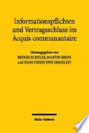 Information requirements and formation of contract in the Acquis communautaire