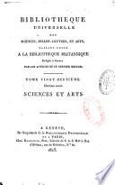 Biblioth  que universelle des sciences  belles lettres et arts  Sciences et arts