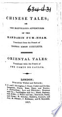 Chinese Tales     Translated by the Rev  Mr  Stackhouse