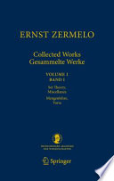 Ernst Zermelo   Collected Works Gesammelte Werke