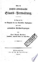 Ueber die Hochstift-Hildesheimische Staats-Verwaltung