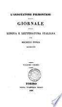 l annotatore piemontese ossia giornale della lingua e letteratura italiana per michele ponza sacerdote