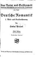 Deutsche romantik: Welt-und kunstanschauung. bd.2.Die dichtung