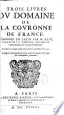 Trois livres du domaine de la couronne de France