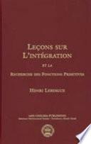 illustration Lecons Sur L'integration Et La Recherche Des Fonctions Primitives