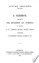 Autumn Thoughts For 1851 A Sermon Etc