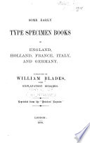 Some Early Type Specimen Books of England, Holland, France, Italy, and Germany