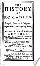 The History Of Romances Made Engl By S Lewis
