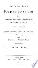 Allgemeines Repertorium der neuesten in  und ausl  ndischen Literatur