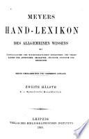 Meyers Hand Lexikon Des Allgemeinen Wissens  Bd  L Zymotische Krankheiten