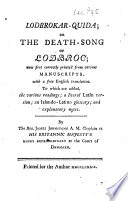 Lodbrokar quida  Or  The Death song of Lodbroc
