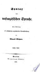 Syntax der Neufranzösischen Sprache