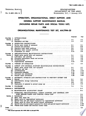 Operator's, Organizational, Direct Support, and General Support Maintenance Manual (including Repair Parts and Special Tools List) for Test Set, Organizational Maintenance AN/TPM-23 (4931-879-0905).