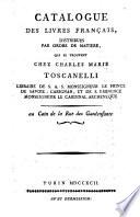 Catalogue des livres français, distribués par ordre de matiere