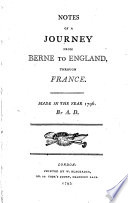 Notes of a Journey from Berne to England Through France
