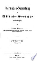 Normalien-Sammlung für Militär-Gerichte