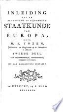 Inleiding Tot De Algemeene En Bijzondere Staatkunde Van Europa