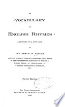 A Vocabulary of English Rhymes Arranged on a New Plan