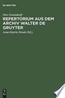 Repertorium der Briefe aus dem Archiv Walter de Gruyter