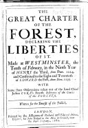 download ebook the great charter of the forest, declaring the liberties of it. made at westminster, the tenth of february, in the ninth year of henry the third, anno dom. 1224. and confirmed in the eight and twentieth of edward the first, anno dom. 1299, etc pdf epub