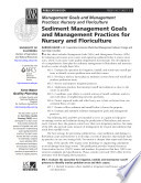 Sediment Management Goals and Management Practices for Nursery and Floriculture