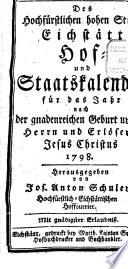 Des Hochfürstlichen Hohen Stifts Eichstätt Hof- und Staatskalender