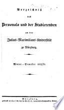 Verzeichniß des Personals und der Studirenden an der Julius-Maximilians-Universität zu Würzburg