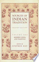 Sources of Indian Tradition  Modern India and Pakistan