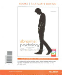 Abnormal Psychology in S Changing World  Books a la Carte Edition