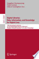 Digital Libraries  Data  Information  and Knowledge for Digital Lives