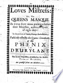 Loves Maistresse  or  the Queens Masque  A tragic comedy  in five acts and in verse