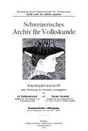 Archives suisses des traditions populaires
