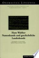 Namenkunde und geschichtliche Landeskunde