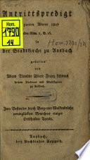 Antrittspredigt am zweiten Advent 1807 über Röm. 1, V. 16 in der Stadtpfarrkirche zu Ansbach