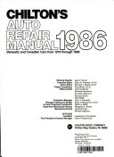 Chilton s Auto Repair Manual 1986