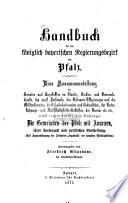 Handbuch für den königlich bayerischen Regierungsbezirk der Pfalz