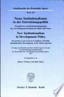 Neuer Institutionalismus in der Entwicklungspolitik