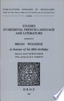 Studies in Medieval French Language and Literature