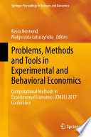 Problems Methods And Tools In Experimental And Behavioral Economics