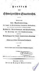 Handbuch des schweizerischen Staatsrechts
