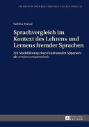 Sprachvergleich Im Kontext Des Lehrens Und Lernens Fremder Sprachen
