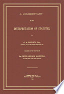 A Commentary on the Interpretations of Statutes
