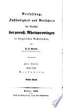 Verfassung, Zuständigkeit und Verfahren der Gerichte der preussischen Rheinprovinzen in bürgerlichen Rechtssachen
