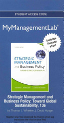 Ebook New Mymanagementlab with Pearson Etext -- Access Card -- For Strategic Management & Business Policy: Achieving Sustainability Epub Thomas L. Wheelen,J. David Hunger Apps Read Mobile