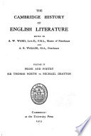 The Cambridge History of English Literature  Prose and poetry  Sir Thomas North to Michael Drayton