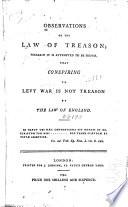 Observations on the Law of Treason