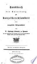 Handbuch der Anleitung zur Kanzelberedsamkeit für evangelische Religionsgeslehrer