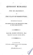 Cursory Remarks Upon the Arrangement of the Plays of Shakespear Pdf/ePub eBook