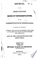 Journal of the     of the     House of Representatives of the Commonwealth of Pennsylvania