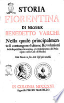 Storia Fiorentina Di Messer Benedetto Varchi